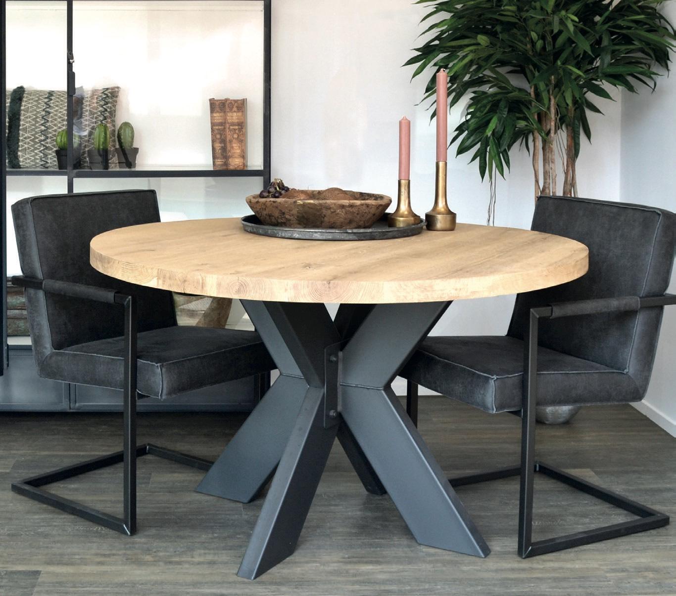 Eiche Tischplatte - Old Style Rund mit gerader Kante